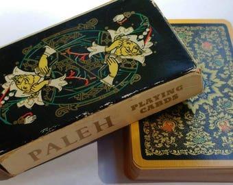 "Vintage USSR ""Paleh"" Playing Cards w/ Ornate Illustrations- Russian Full Deck Paper Ephemera Art Craft Supplies Palekh Gypsy Exotic Gold"