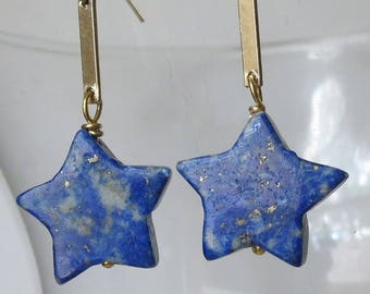 Lapis Stars and Gold Bars Earrings