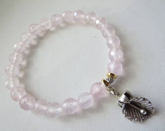 8mm Micro Faceted Rose Quartz Rounds Sterling Silver Stretch Flower Charm Bracelet