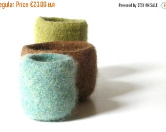ON SALE WOOLY Felted Bowls - three felted bowls - olive green, nougat brown, sapphire blue