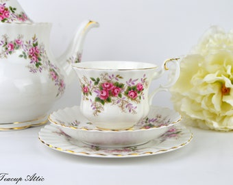 Royal Albert Teacup Trio, Teacup, Saucer, Bread and Butter Plate, Lavender Rose, ca. 1960