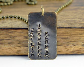 Hand Stamped Mens Dog Tag Necklace, Hand Stamped Jewelry, Personalized Necklace, Rustic Tags, Mens Necklace, Mens Jewelry, Fathers Day Gift
