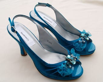 Teal Bridal Wedding Shoes, Peacock Comfortable Satin Heels, hand embellished organza flowers & beads, Slingback, Open Peep Toe,Ready to Ship