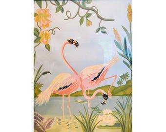 Retro Flamingos Print Foil Sheen White Wooden Frame White Seid Products Baltimore 2525