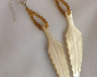 Vintage hand carved Mother-of-pearl leaf with golden brown crystal dangling earrings- Sale
