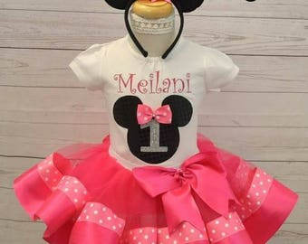 minnie mouse birthday outfit, FREE SHIPPING,birthday girl outfit, minnie mouse birthday tutu,hot pink tutu,girl birthday outfit