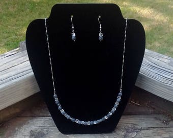 Natural Lava Rock & Cuboid Crystal Glass Beads on Sterling Silver Chain Necklace with Matching Earrings