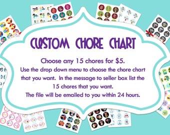 Digital CHORE CHART - Personalized with your chores.   1 inch Digital Bottle Cap Images - 15 images included