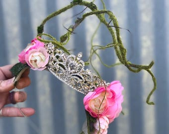 Queen Crown, Princess Crown, Crown Headpiece, Silver Crown, Crown Headband, Bridal Flower Crown, Rhinestone Crown, Moss Crown