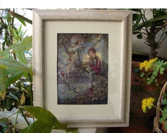 1913 Peter Pan print, Flora White, original rare book plate,print from Peter Pan's Abc book