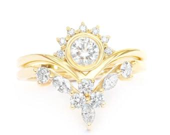 Diamond Crown Rings Bridal Set, Art-Deco Engagement Ring + Matching Side Band - Marquise Diamond Wedding Ring - Chevron V-Ring