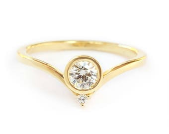 10% OFF Bindi Unique Engagement Diamond Ring, Delicate Diamond Ring, Solitaire Diamond Ring, Gold Engagement Ring, Gift for Her
