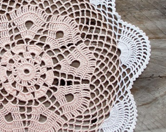 Pink and white Crochet Vintage Doily rose quartz