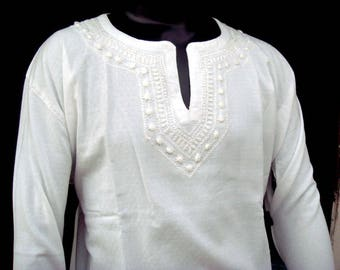 Custom order for cmitch2900 for White Kurta Shirt Tunic Top hand embroidered with Matching White Pants