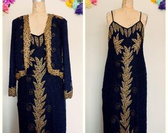 Black & Gold Beaded dress, Sequin Dress ,sleeveless dress, Gatsby style dress, couture dress, maxi length dress, Disco dress, Beaded gold