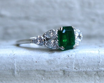 Gorgeous Vintage Platinum Diamond and Emerald Engagement Ring - 2.40ct.