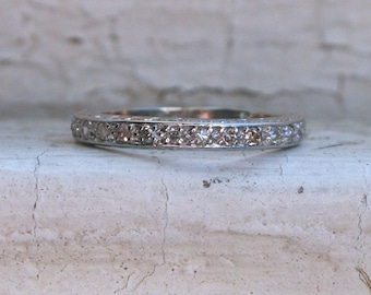 RESERVED - Classic Vintage 14K White Gold Pave Diamond Wedding Band - 0.38ct.