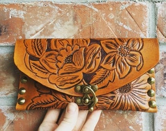 Leather tooled wallet clutch