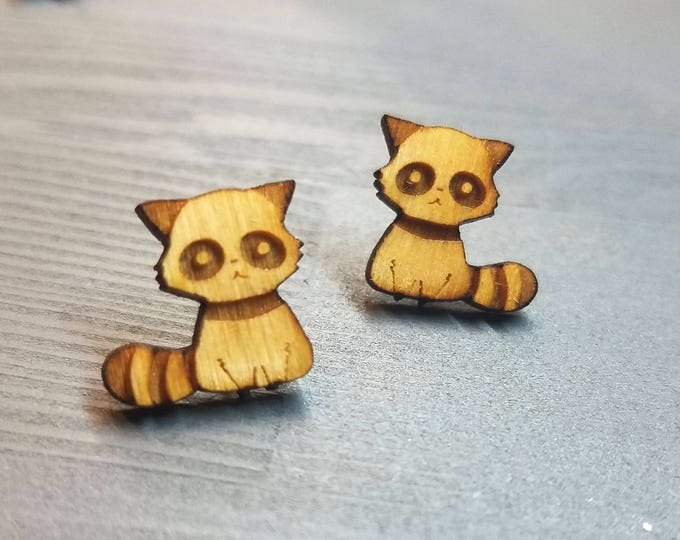 Raccoon Earrings | Laser Cut Jewelry | Hypoallergenic Studs | Wood Earrings