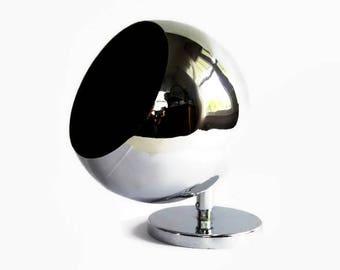 Mid Century Modern  Eyeball Light, Koch Lowy OMI, Vintage Atomic Age Chrome Orb Wall Sconce, Mod Spherical Wall Lamp