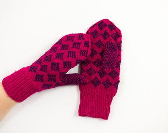 Hand Knitted Mittens - Pink and Blue, Size Medium