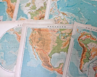 1910s Antique Japanese world map 8 Pages Paper Ephemera Scrap Assorted Pack