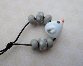 Handmade lampwork glass sea gull bird bead set UK