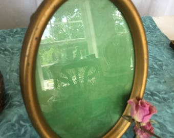 Antique Gold Painted Oval Metal Frame. Old Metal Gold Oval Frame With Back Stand.