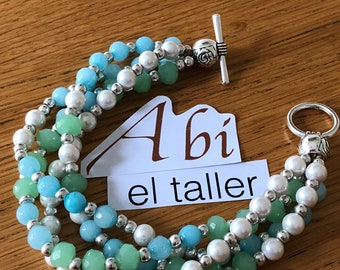 Turquoise bracelet, pearls and silver / braided bracelet / pearls and turquoise / fashion bracelet / turquoise