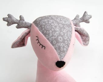 Stuffed deer, gift for baby girl, plush doll deer, reindeer doll, stuffed baby deer, reindeer cuddly toy, woodland, pink reindeer