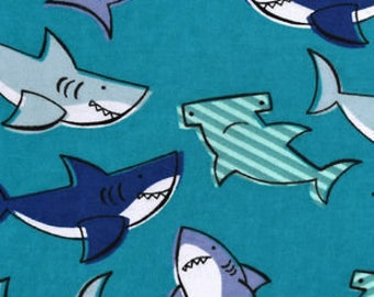 Snuggle Flannel Fabric - Shark Party - 34 inches