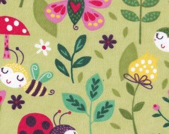 Snuggle Flannel Fabric - Sweet Bugs - 3/4 Yard