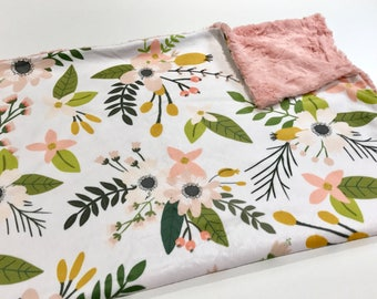 Floral Baby Girl Blanket. Baby Minky Blanket, Baby Shower Gift, Coral Pink Minky Baby Blanket, Ready to Ship Baby Blanket, Sprigs and Bloom