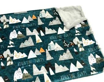 Mountain Adventure Awaits Baby Blanket, Baby Boy MINKY Blanket, Adventure Awaits Midnight Blue Baby Blanket, Ready to Ship Baby Boy Blanket