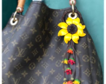 Bella's leather Sunflower keychain and / or purse charm