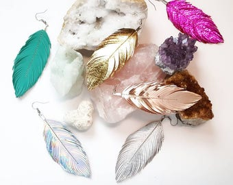 RESERVE ORDER for elvinpixie - Feather Earrings, rose gold, Hippie, Metallic, Bride, Coachella, Gypsy, Bridesmaids, Festival, Boho, Bohemian