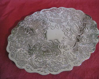 Etched Silver Plate Trivet