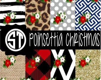 Poinsettia Christmas  Vinyl (Indoor, Outdoor, Outdoor Glitter, Heat Transfer, Glitter Heat Transfer) Lamination available Mask not included