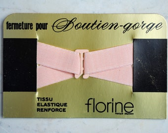 Vintage French peach pink elasticated clasp or hook fastening for bra or soutien-gorge