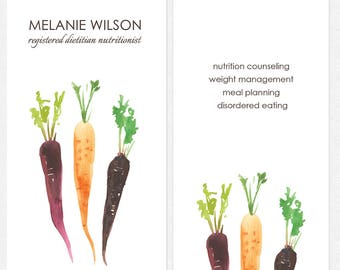 nutritionist dietitian business cards - DELUXE thick matte - color both sides - FREE UPS ground shipping