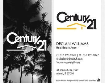 no photo Century 21 real estate DELUXE business cards - thick, color both sides - FREE UPS ground shipping