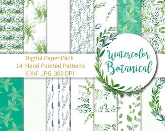 Herbal Paper Pack, Botanical Digital Herbal Digital, Green Wedding Paper, Botanical Paper Greenery, Watercolor Paper Seamless Pattern 6X6