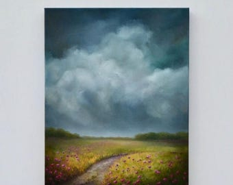 ON SALE storm cloud painting, landscape painting, original oil painting, flower meadow painting - Summer Dreams