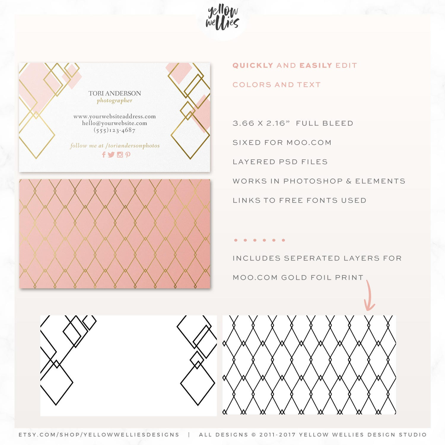 Business card template blush and gold moo template gold foil business card template blush and gold moo template gold foil template photoshop magicingreecefo Images