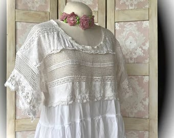 Sugar White  Lace and Cotton Poets Tunic Dress Romantic Vintage Style