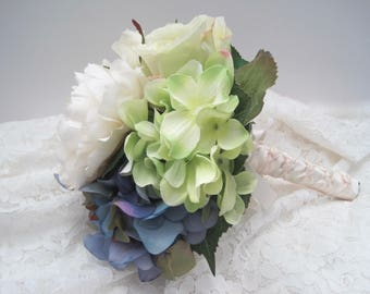 Mixed Bridal Bouquet with Hydrangea Peonies and Roses French Knotted with Pearl Accents Handle....Ready to Ship