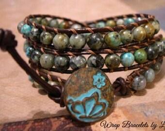 Beaded Leather Wrap Bracelet, Beaded wrap bracelet, Boho Bracelet - 1000