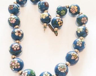Blue Bead Necklace, Pink, Yellow, Green, Flowers, Made in Germany, Vintage Jewelry SPRING SAL