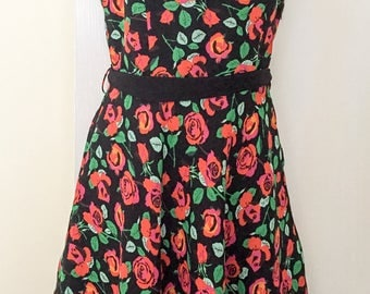 Tea Party Dress, Flower Power, Red Roses, 1990s SALE