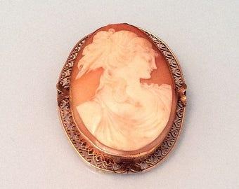 Cameo Brooch, Lady, Vintage Jewelry, Victorian, 14K Gold, Pre Raphaelite SUMMER SALE